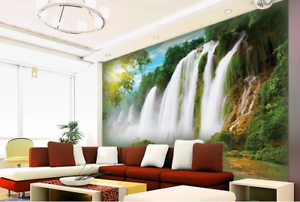 3D Waterfall Shrubs 88 Wall Paper Murals Wall Print Wall Wallpaper Mural AU Kyra