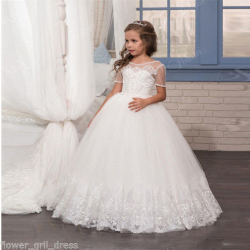 Tulle Lace First Communion Kid/'s Party Birthday Flower Girl Pageant Dance Dress