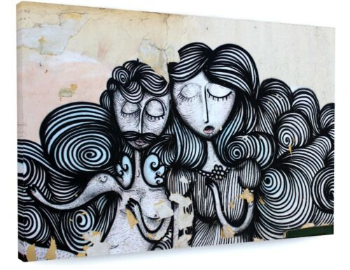 GOTHIC FACES GRAFFITI STREET ART CANVAS PICTURE PRINT CHUNKY FRAME LARGE #3606