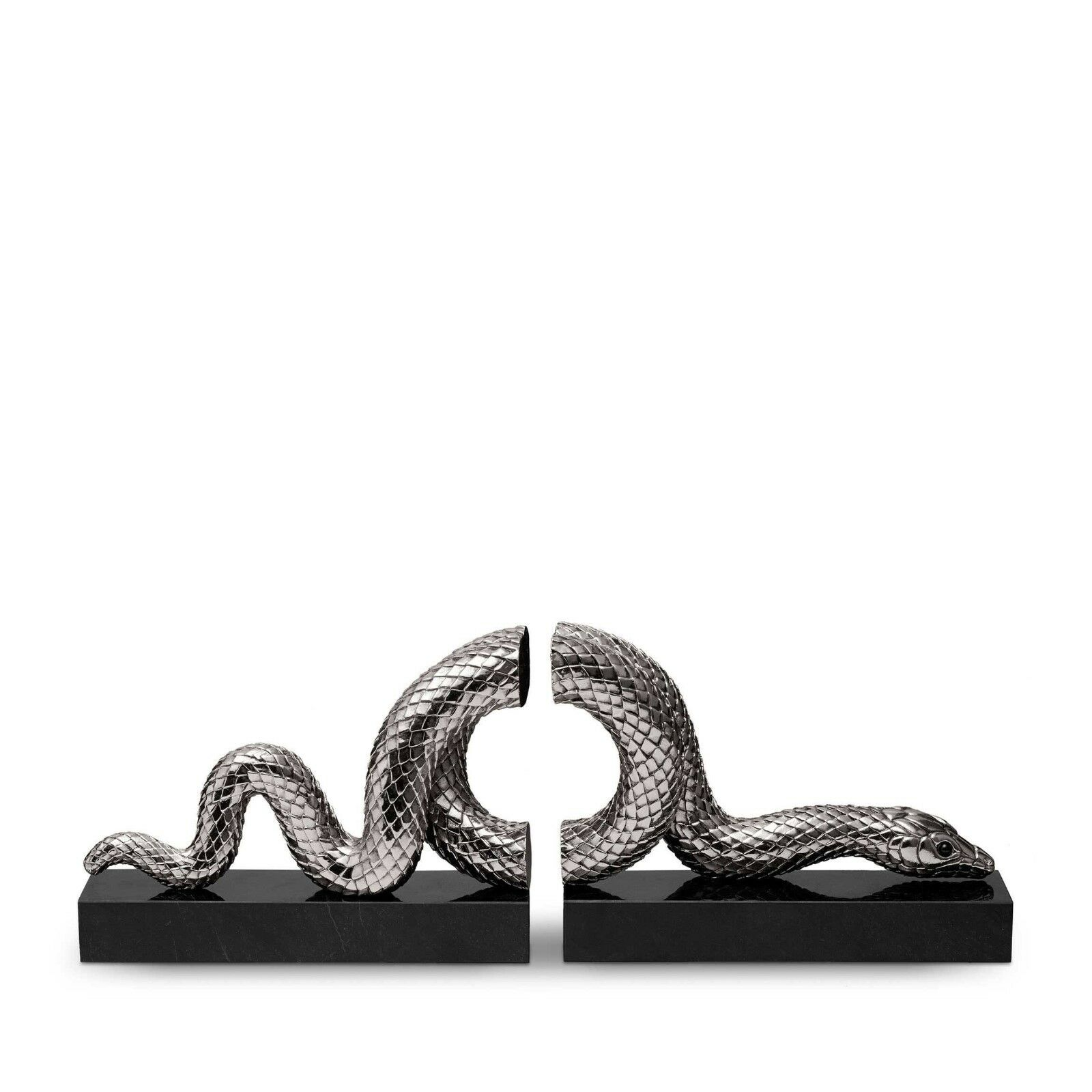 L'Objet Snake Bookend Set (2 Piece Set) Platinum