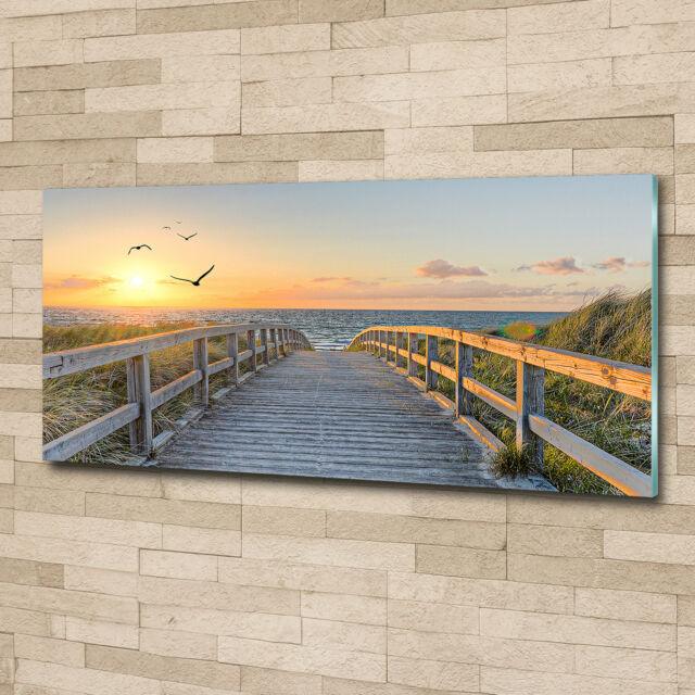 Wand-Bild Kunstdruck aus Hart-Glas Hochformat 70x140 Weg zum Strand