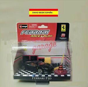 FERRARI-F50-BURAGO-1-43-CON-GARAJE-COCHES-MAQUETAS-MODELOS-DIORAMAS-COLECCIoN