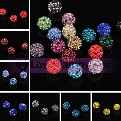 Wholesale Lots 10X Colorful Crystal Pave Clay Disco Ball Loose Spacer Beads 10MM