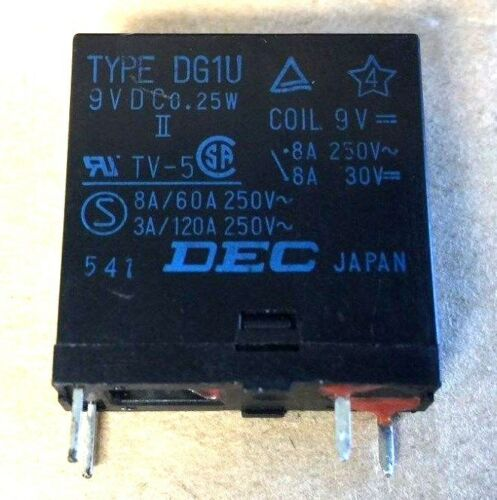 TV-5 0.25W 8A//60A 3A//120A 250V -II-0.25W DEC RELAY TYPE DG1U 9VDC DG9D1-0 M