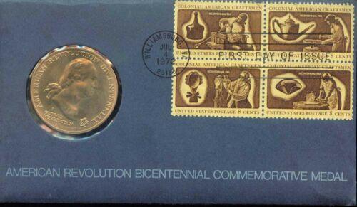 S835 AMERICAN REVOLUTION BICENTENNIAL COMMEMORATIVE MEDAL /& STAMPS 1972