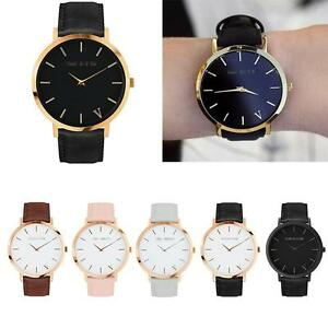 The-Brand-Womens-Mens-Unisex-Quartz-Analog-Gold-Leather-Band-Wrist-Watches-New