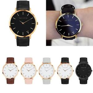 The Brand Womens Mens Unisex Quartz Analog Gold Leather Band Wrist Watches New