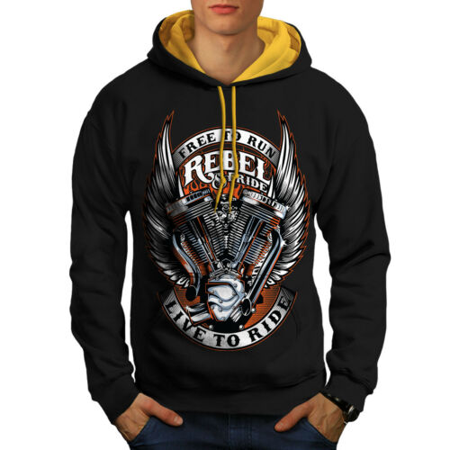 Men cappuccio New Black Contrast Ride Free Rebel Biker Hoodie oro wgUtxqa8