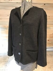 MINT-Garnet-Hill-HEATHERED-GRAY-Soft-Shell-Wool-Jacket-Button-Front-size-6-or-S
