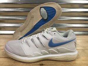 be44e3051eac Nike Air Zoom Vapor X HC Federer Tennis Shoes White Blue Gold SZ ...