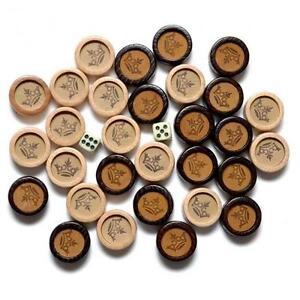 De Muxe 30 Backgammon Pièces Jeu Echiquier Chips Foncé & En Bois Blanc Cuir Neuf