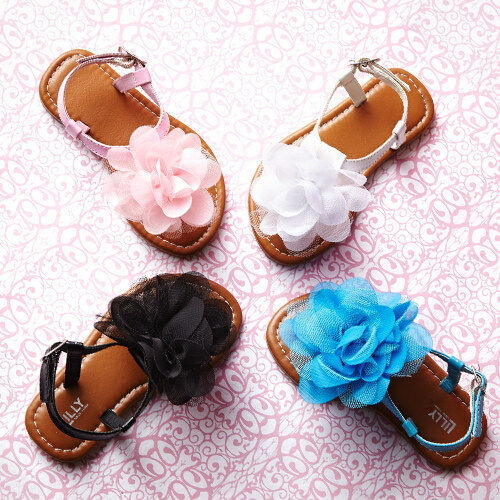 LILLY OF NY GIRLS SANDALS WITH LARGE TULLE FLOWER SIZES 5T-10T