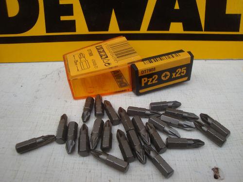 "DEWALT DT7908 1//4/"" HEX  25 X PZ2 25mm SCREWDRIVER BITS IN TIC TAC"