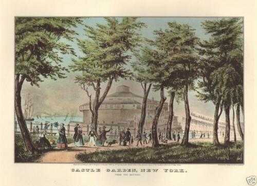 Vintage Art Original Color Print CASTLE GARDEN NEW YORK