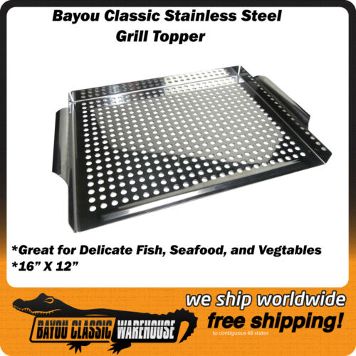 """Stainless Steel Grill Topper 16/"""" X 12/"""" Accessory for Vegtables Seafood Fish"""