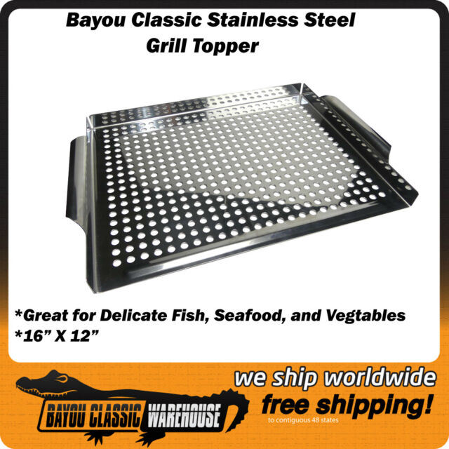 "Stainless Steel Grill Topper 16/"" X 12/"" Accessory for Vegtables Seafood Fish"