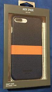 buy online ead4a 498ac Details about New Jack Spade NY Horizontal Stripe Case For iPhone 7 Plus /  8 Plus -Blue/Orange