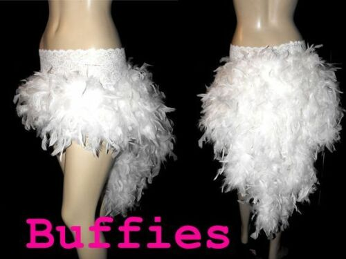 White Long Feather Bustle Skirt Tail Gothic Steampunk Burlesque plus size