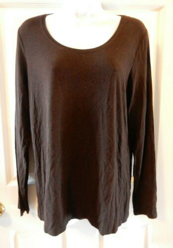 NWT Eileen Fisher Large Chocolate Jersey Scoop Neck Long Slim Tee Top