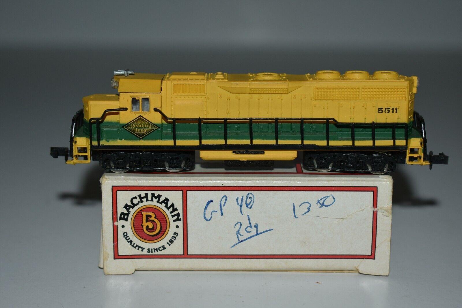 N Scale Bachmann Reading Gp-40 Powered Diesel Locomotive 5511 C7633
