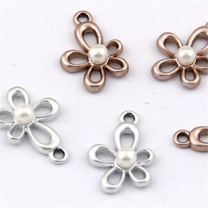 Charms-Imitation-pearl-Flower-Pendant-Bracelet-Accessories-Jewelry-Making-1070H