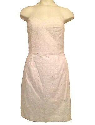 sale dkny white cotton eyelet strapless corset sundress