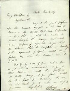 1839 Letter Emery Wasburn Boston Massachusetts Attorney