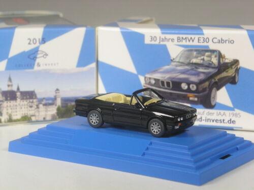 30 años e30 Wiking c/&i colección bmw 325i cabrio negro metálico en PC