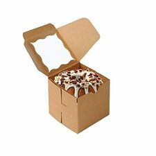 50 Pcs Bakery Boxes With Window Cookie Boxes For Gift Giving 4x4x4 Inchesbrown
