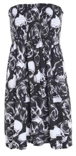 Nouveau Femme Bustier Imprimé rapport Boob Tube Gather Bandeau Court Tops Shirts