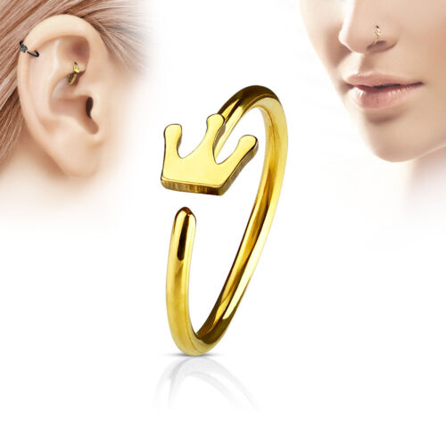 1pc Bendable Steel Hoop Nose Cartilage Ring Crown Rook Daith Helix Tragus
