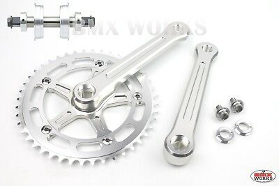 ProMX BMX 3 Piece Aluminium Cranks Set Silver with Machined Face Old School BMX