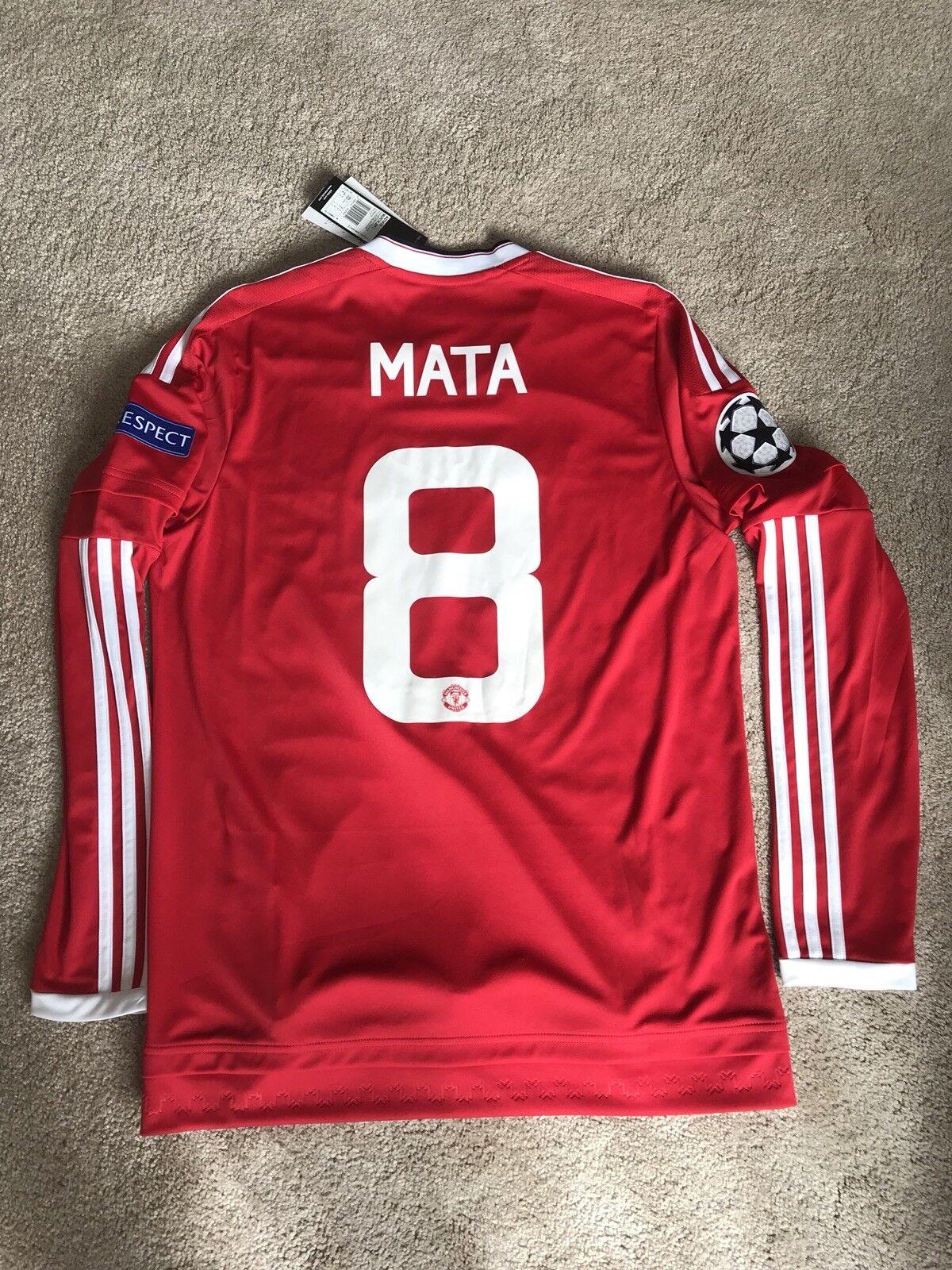 NUOVO Tag Manchester United Home Camicia 201516 adulti medio M Manica Lunga MATA