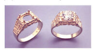 8mm Round 14kt White Or Yellow Gold Light Textured Ring Setting Size 9, 10, 11
