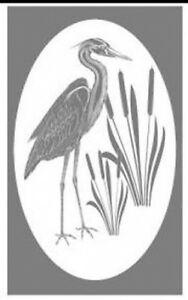 HERON static cling etched glass window decal for doors, mirrors and autos