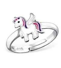 Childrens Girls 925 Sterling Silver White Pink Purple Unicorn Horse Ring Boxed