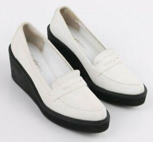 EUC 3.1 PHILLIP LIM women's wedge platform loafers shoes in Beige sz36.5