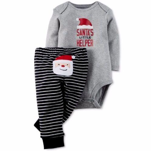 CARTER/'S BABY BOY GIRL 2PC SANTA/'S LITTLE HELPER BODYSUIT PANT SET 9M