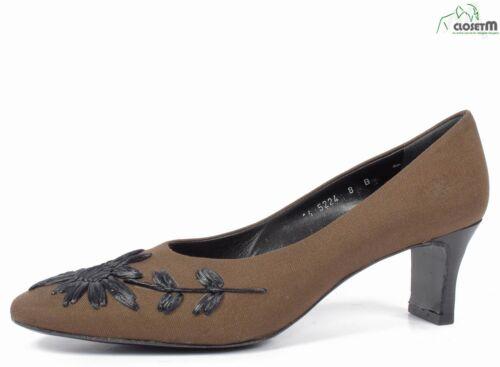 Panacaldi Marrón Forrado Zapatillas con / Negro Paja Diseño de Flores Sz. 8B