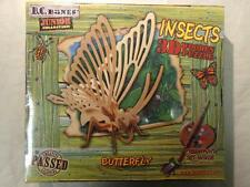 NEW 2003 B.C. BONES INSECTS BUTTERFLY 3D WOODEN PUZZLE  Paint Set Included