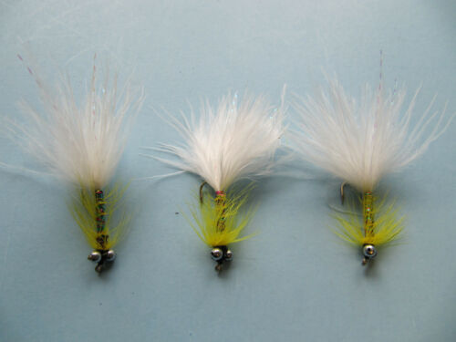 3 X YELLOW DANCER WITH WHITE TAIL SIZE 12 BEAD CHAIN LONG SHANK LURES BCLS 43