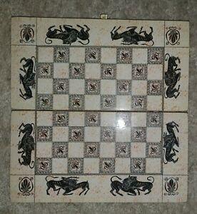 Handmade-en-Bois-Dames-et-backgammon-pliable-Set