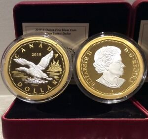 2019 Big Coin Flying Loon 5OZ Pure Silver Proof Classic $1 Dollar Canada