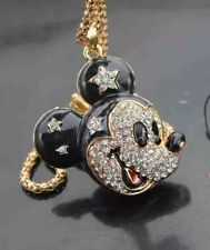 Betsey Johnson Necklace Black  And Gold  Crystal  Mickey Mouse Ears