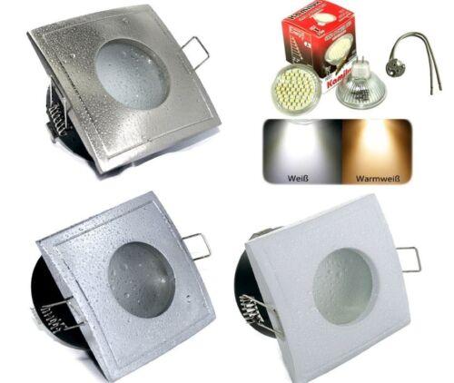 GU5,3 12V Bad /& Dusche Feuchtraum 3W = 25Watt LED Einbauspot IP65 eckig EEK A