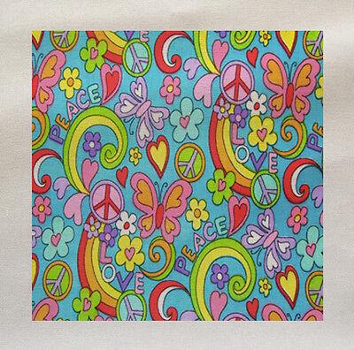 Peace Love Hippy Printed Fabric Panel Make A Cushion Upholstery