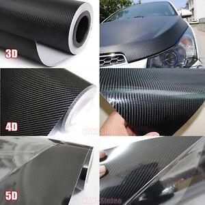 "24/""x 60/"" 3D BLACK Carbon Fiber Texture Vinyl Wrap Sticker Decal Film Sheet CF 3D"