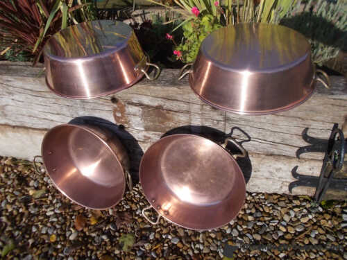 Lovely French Vintage Copper Jam Pan Bowl Sink Ref T21//338-341