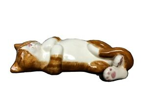"""NS Gustin Co 14"""" Ceramic Sleeping Cat Hand Painted Orange Tabby French Country"""
