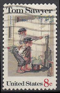 EE. UU. con sello 8c Tom Sawyer de Mark Twain escritor libro infantil autor/1369